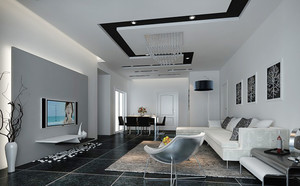 现代风格两居室黑白客厅装修效果图