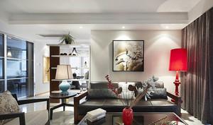 93平米现代中式风格三室一厅设计效果图鉴赏
