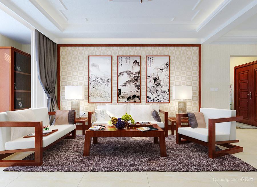 110平米新中式风格客厅壁画效果图赏析