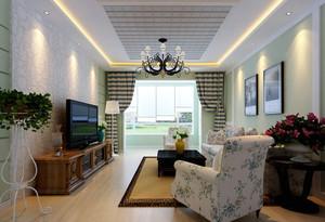 美式田园风格二居室客厅窗帘效果图赏析