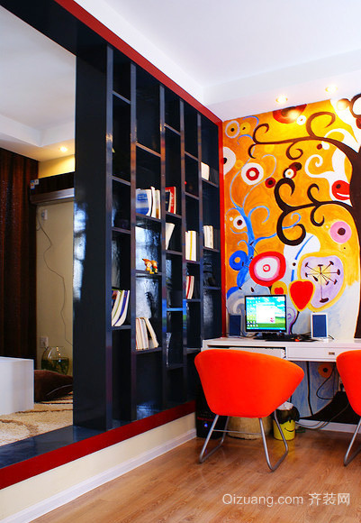 新中式风格色彩混搭书房博古架装修效果图鉴赏