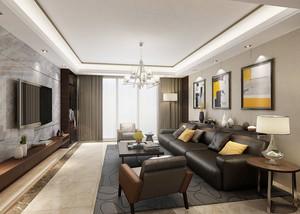 135平米现代中式风格四室一厅设计装修效果图