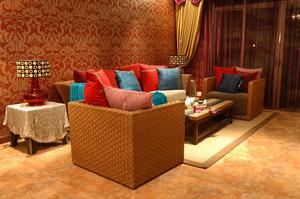 176平米东南亚风格四室两厅装修效果图实例