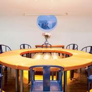 现代中式风格时尚混搭圆形餐厅设计装修效果图