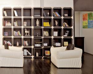 现代简约风格大户型客厅书房板式博古架装修效果图