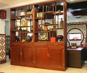 中式风格大户型书房博古架设计效果图