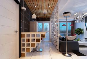 现代简约风格客厅厨房镂空隔断设计效果图赏析