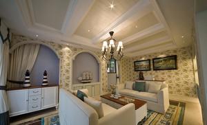 地中海风格三层别墅客厅铁质带灯装修效果图鉴赏