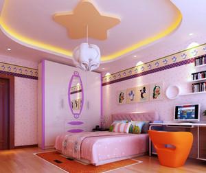 现代简约风格粉色硅藻泥儿童房装修效果图
