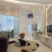 10平米现代简约客厅窗帘隔断设计效果图赏析