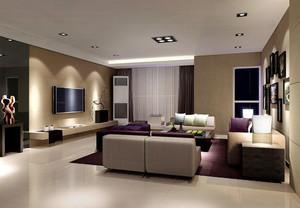 70平米现代简约风格客厅吊灯筒灯装修效果图赏析