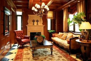 复古美式风格278平米别墅设计装修效果图鉴赏