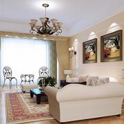 大户型现代美式简约风格客厅窗帘设计效果图