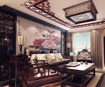 仿古中式风格客厅屏风设计装修效果图鉴赏
