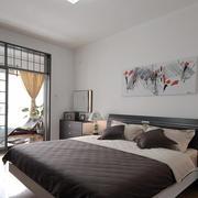 10平米现代中式风格卧室阳台装修效果图