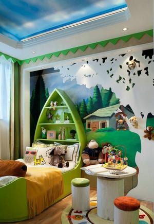 现代简约绿色时尚儿童房背景墙装修效果图片