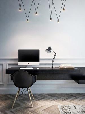 20平米北欧风格书房黑色书桌效果图赏析