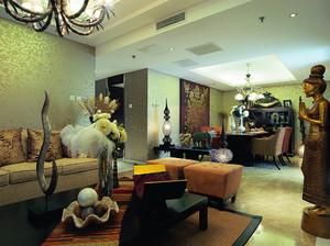 东南亚风格三居室室内装修效果图鉴赏