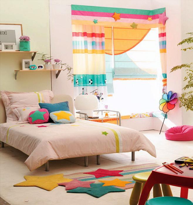 都市简约风格三居室儿童房飘窗设计效果图