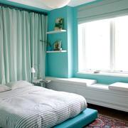 都市清新风格一居室卧室飘窗设计效果图