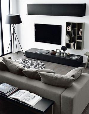 后现代风格两居室黑色客厅橱柜效果图赏析