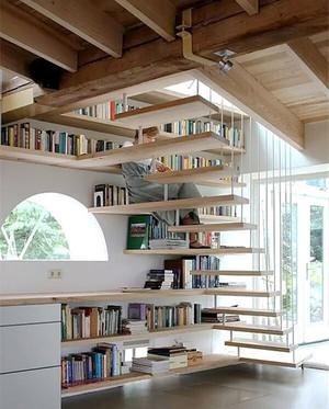 简约风格复式楼楼梯书架设计效果图赏析