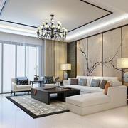 80平米简约中式风格客厅装修效果图鉴赏