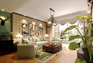 8平米美式田园风格小客厅装修效果图赏析