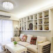 100平米现代简约风格客厅白色实木橱柜设计效果图