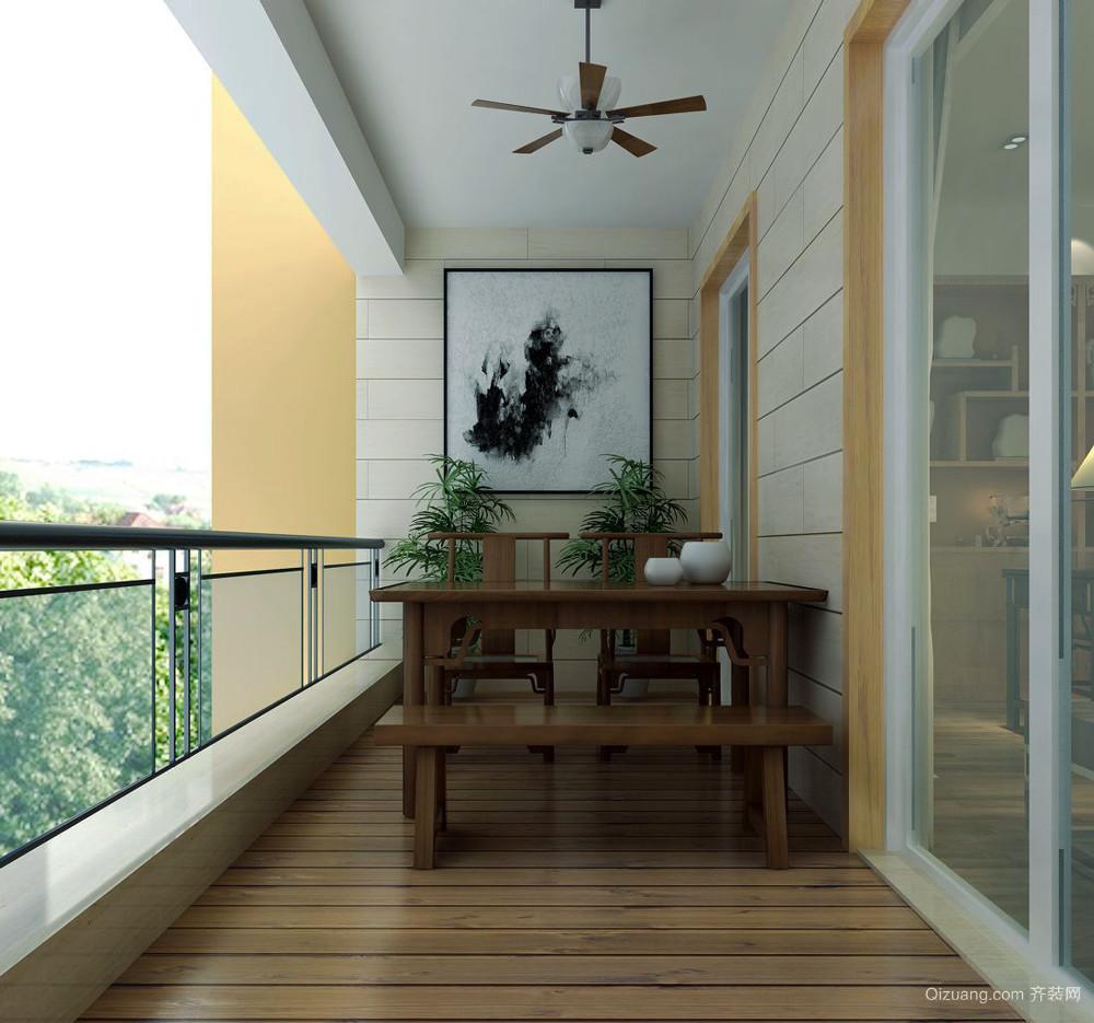 现代中式风格三居室客厅阳台装修效果图赏析图片
