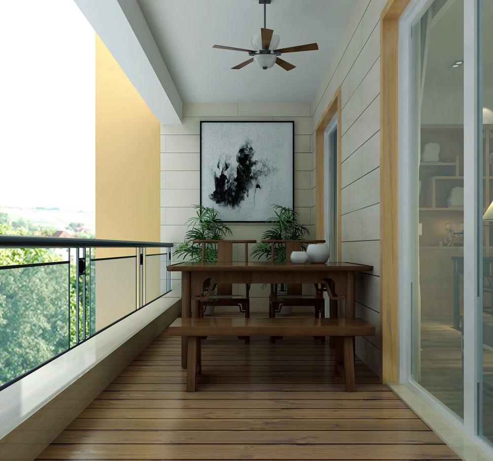 现代中式风格三居室客厅阳台装修效果图赏析
