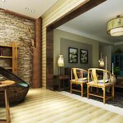 128平米中式风格客厅阳台设计效果图赏析