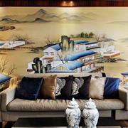 120平米中式风格客厅装饰画效果图赏析