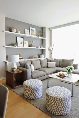北欧风格单身公寓客厅无吊顶效果图赏析