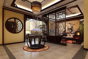 中式风格别墅客厅木质隔断墙设计效果图