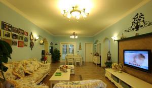 美式田园风格小户型客厅装修效果图鉴赏