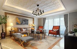 136平米新古典风格客厅天花设计效果图