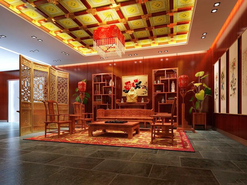 中式风格别墅仿古客厅装修效果图赏析