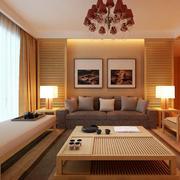 128平米中式风格客厅实木茶几效果图鉴赏