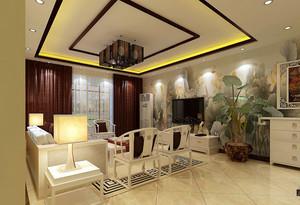 中式风格三居室客厅正方形吊顶设计效果图