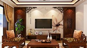 中式风格三居室客厅电视背景墙设计效果图鉴赏