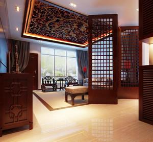 285平米中式风格别墅客厅屏风隔断设计效果图