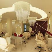 78平米现代风格美发店吊顶装修效果图