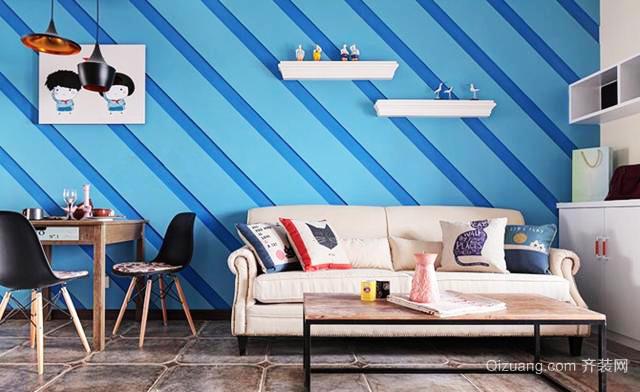 70平米地中海风格仿古客厅墙纸效果图