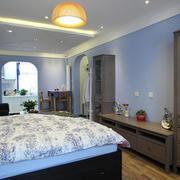 地中海风格两居室主卧室带阳台装修效果图