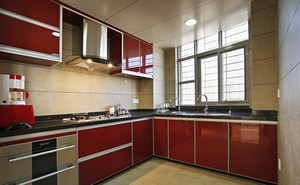 100平米现代简约风格酒红色橱柜效果图赏析