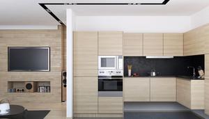 现代风格单身公寓开放式整体橱柜设计效果图