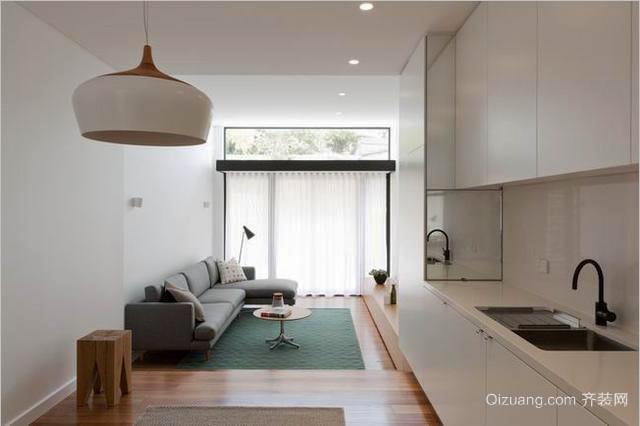 日式风格女生公寓开放式客厅餐厅装修效果图