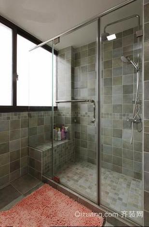 现代美式风格单身公寓卫生间隔断设计效果图