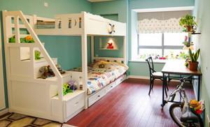 现代田园风格三居室儿童房双层床效果图赏析